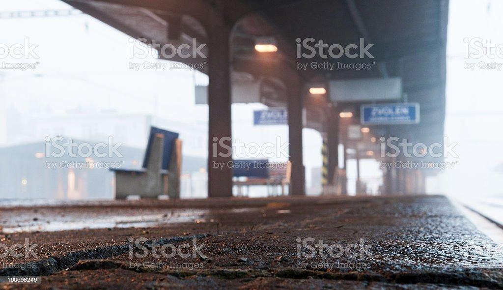 Misty train station stock photo