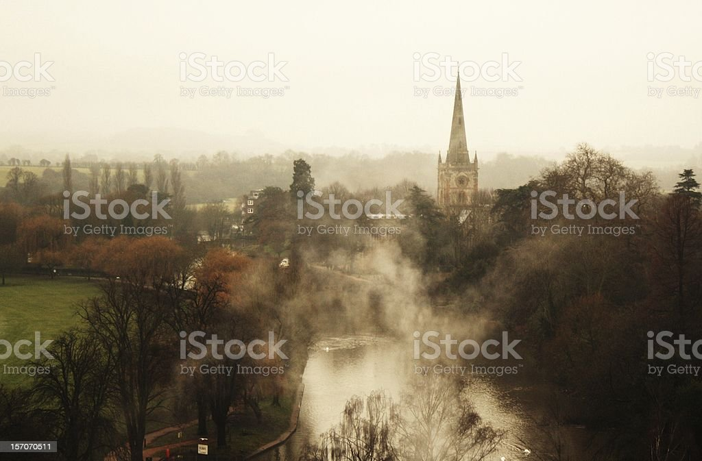 Misty View Over Stratford-upon-Avon - Royalty-free Church Stock Photo