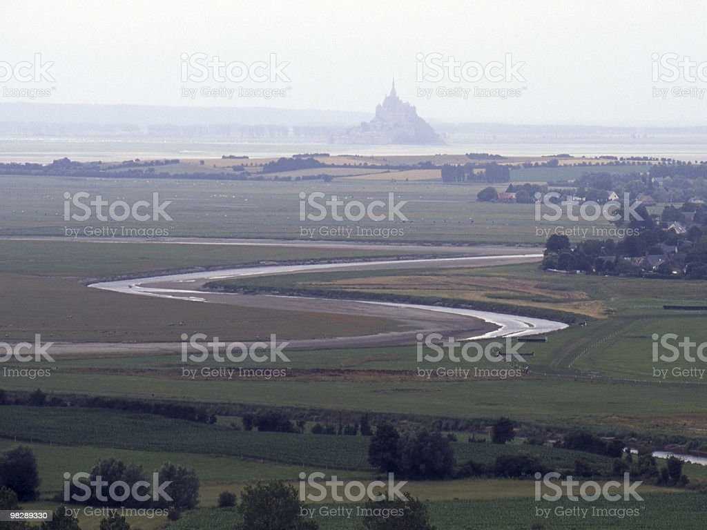 Misty view to St Michaels Mount from Avranges. France royalty-free stock photo