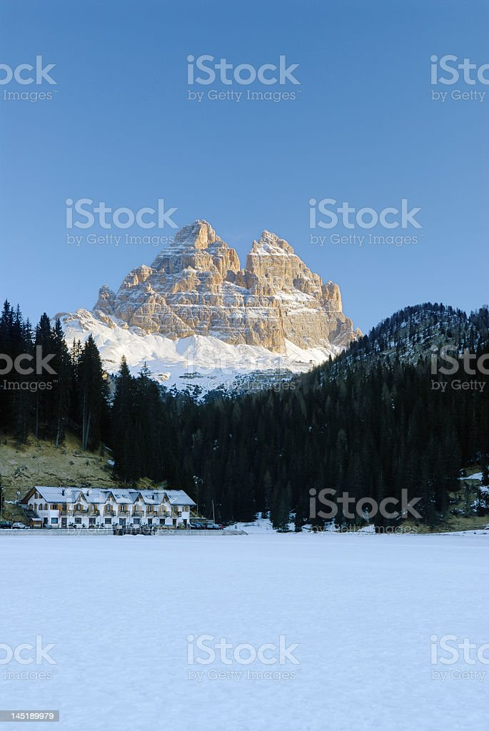 Misurina Lake and the Three Peaks (Dolomites - Italy) stock photo