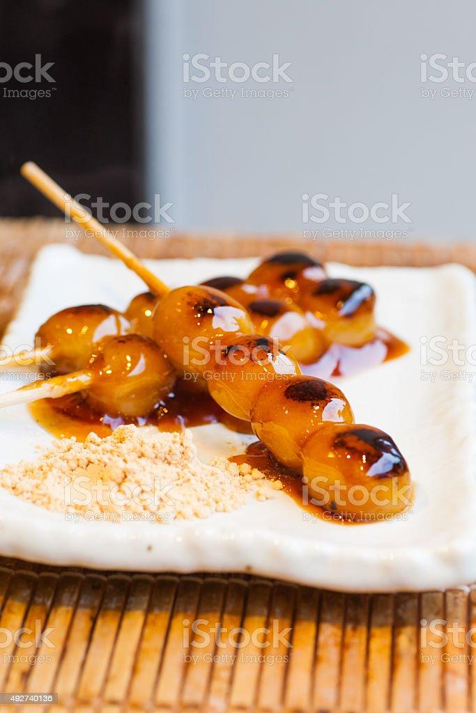 Mitarashi Dango Japanische Dumpling Und Süßen Aus Reismehl Stock