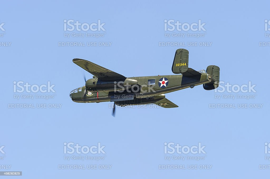 Mitchell B-25 flying by stock photo