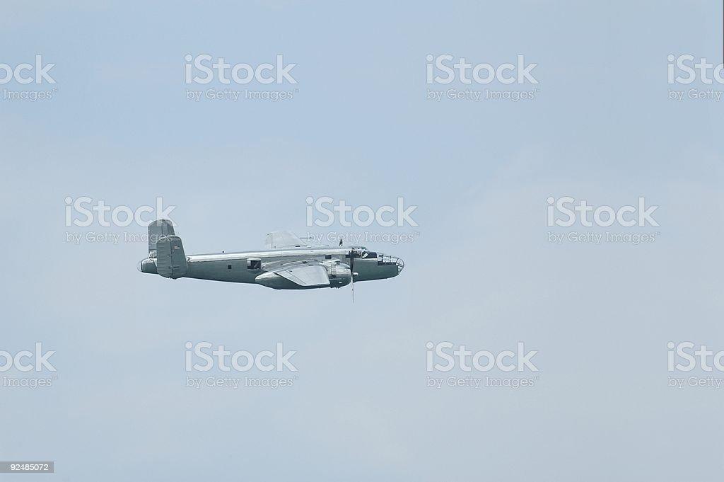 B25 Mitchell bomber in flight stock photo