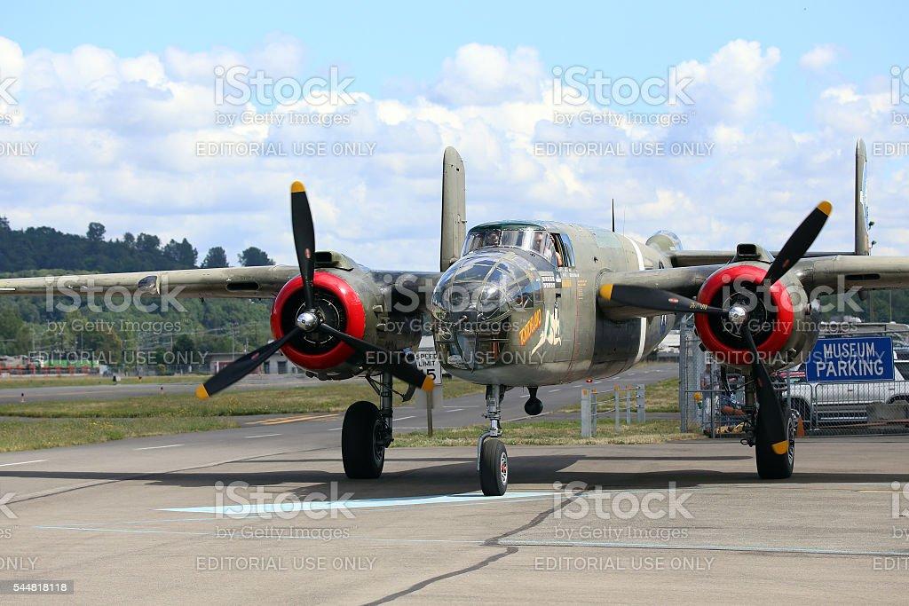 B-25J Mitchell bomber stock photo