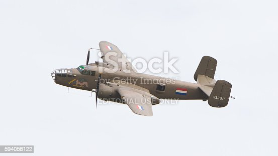 Leeuwarden, the Netherlands - June 10: WW2 B-25 Mitchell bomber in Dutch markings during the Dutch Air Force Open House. June 10, 2016 in Leeuwarden, The Netherlands