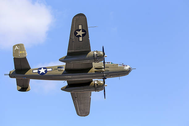 Mitchell Everett, Wa, United States - July 30, 2016: A North American B-25J Mitchell bomber was seen flying over Everett Paine Field. bomber plane stock pictures, royalty-free photos & images