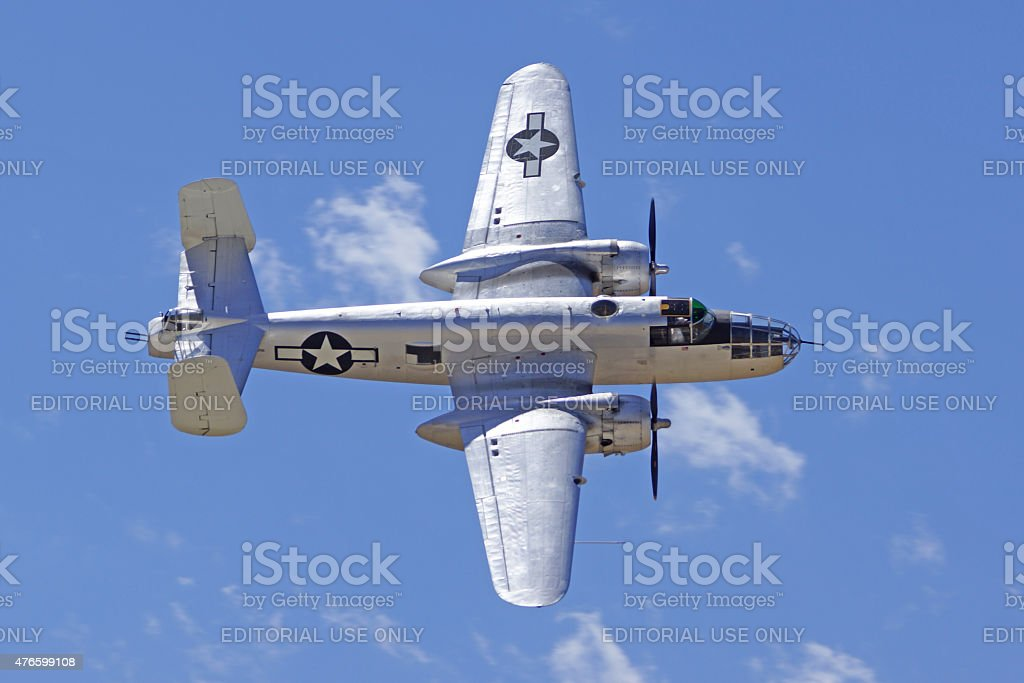 B-25 Mitchell vintage WWII Bomber flying stock photo