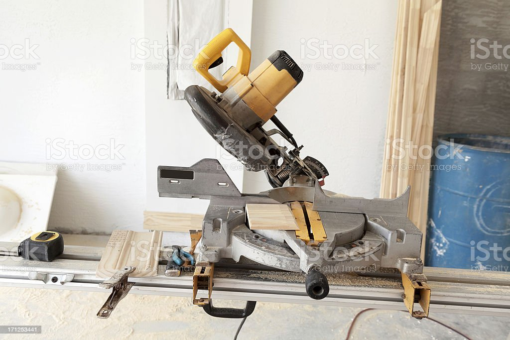 Miter Saw in  the garage stock photo