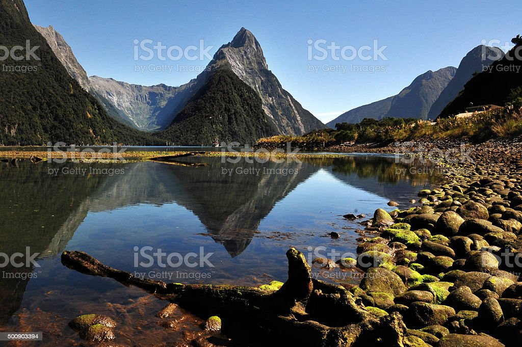 Mitre Peak, Fiordland, New Zealand stock photo