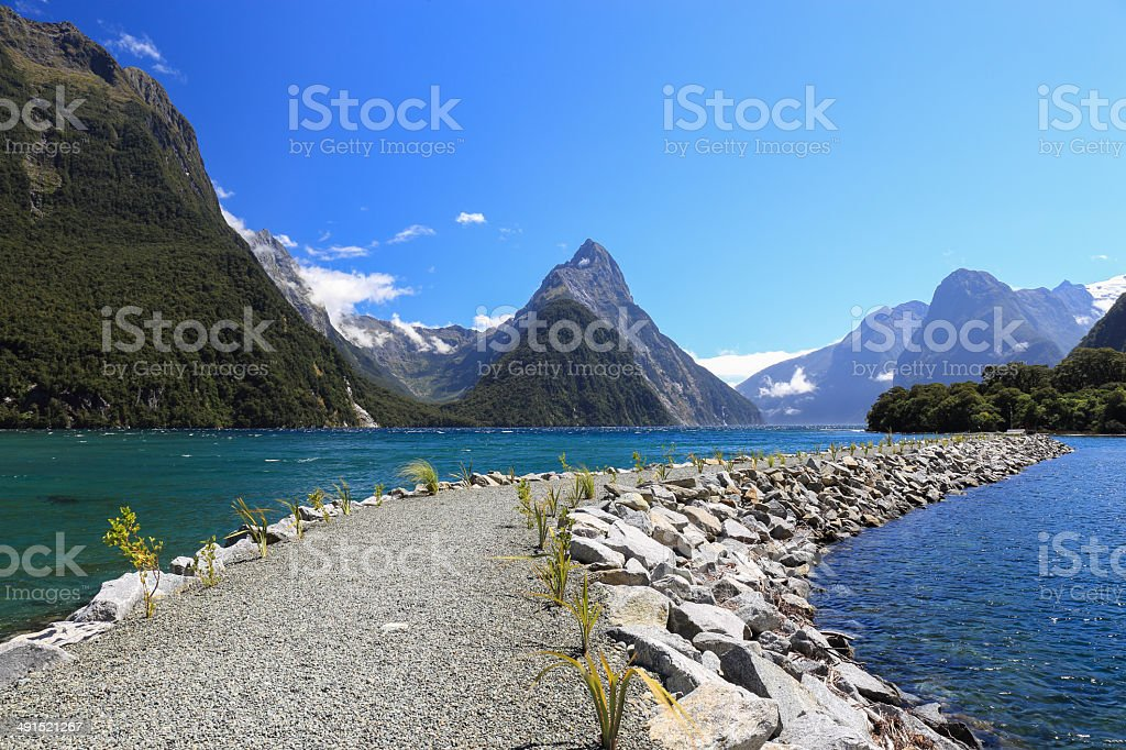 Mitre Peak in Fiordland National Park, southern Island, New Zealand. stock photo