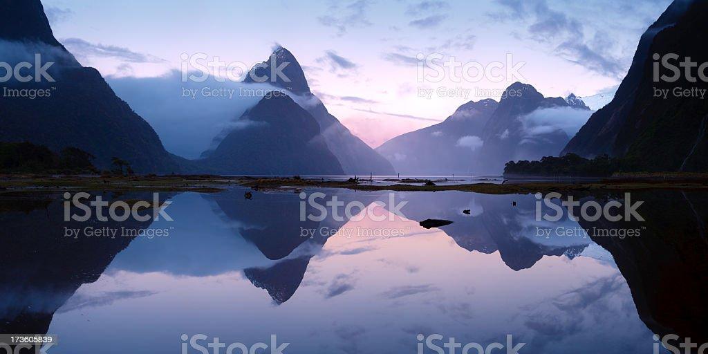 Mitre Peak (Piopiotahi) - Milford Sound, New Zealand royalty-free stock photo