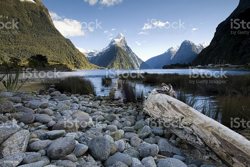 Mitre Peak, Milford Sound, New Zealand stock photo