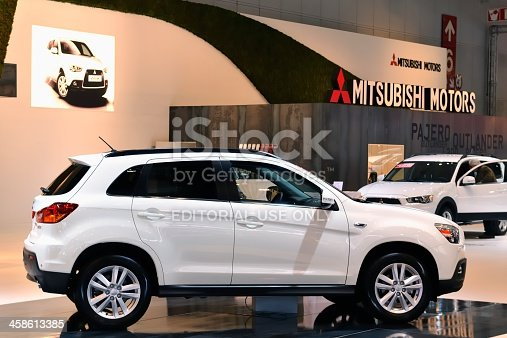Brussels, Belgium - January 10, 2012: White Mitsubishi ASX SUV on display during the 2012 Brussels motor show.