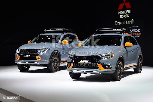 Geneva, Switzerland - March 1st, 2016: The presentation of Mitsubishi L200 and ASX after the facelift on the motor show. These vehicles are the most popular cars in Mitsubishi offer.