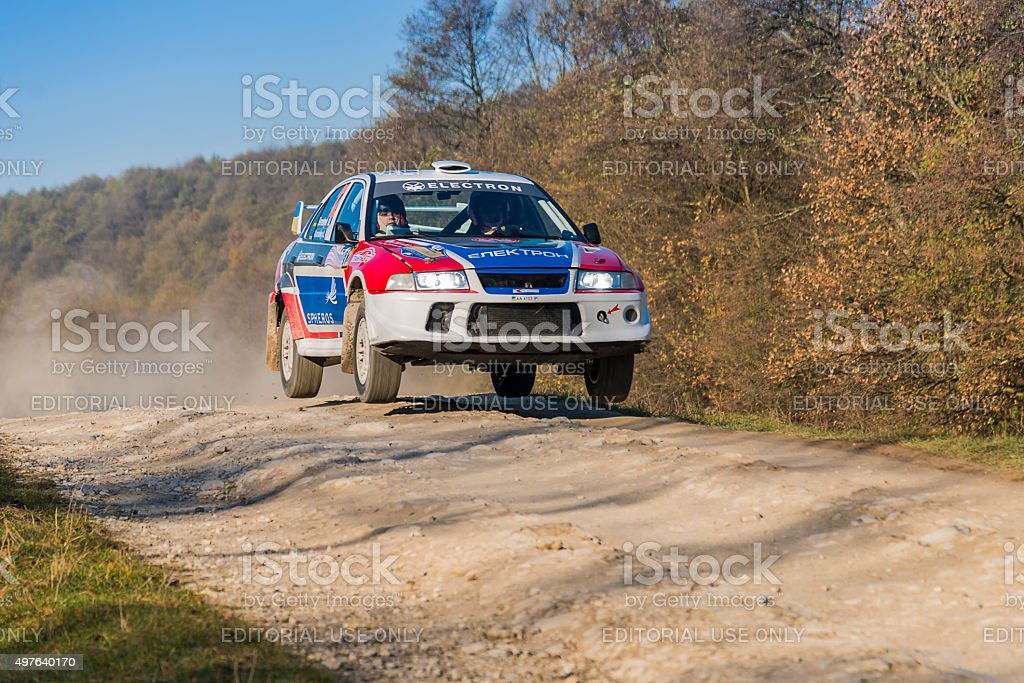 Mitsubishi Lancer Evo IV  competes at the annual Rally Galicia stock photo