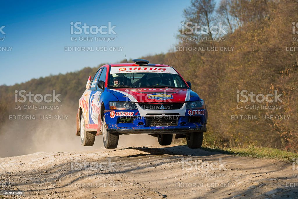 Mitsubishi Lancer Evo IX  competes at the annual Rally Galicia stock photo