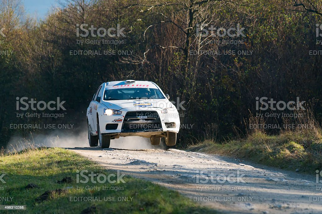 Mitsubishi Lancer Evo X competes at the annual Rally Galicia stock photo