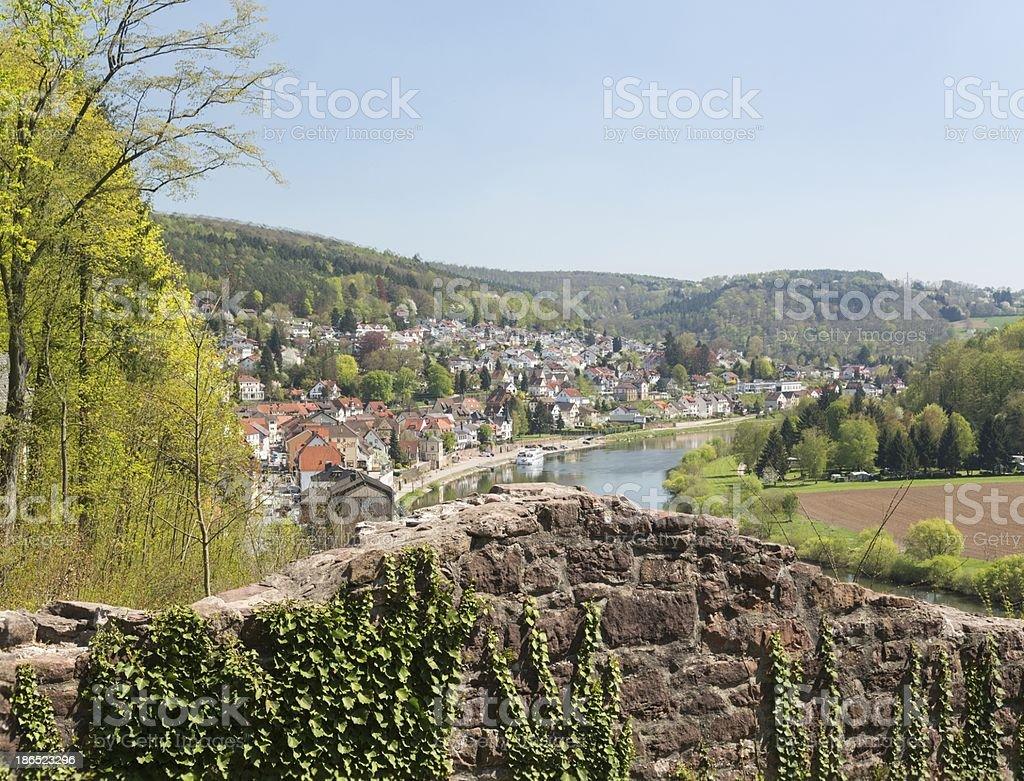 Mittelburg castle above Neckarsteinach stock photo