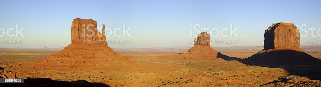 Mittens and Merrick Buttes Sunset Panorama royalty-free stock photo
