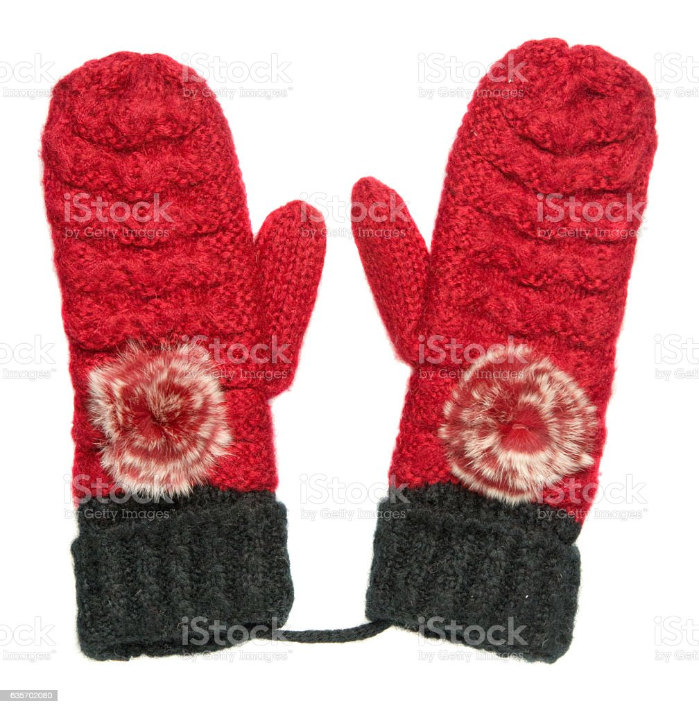 Mittens isolated on white background. Knitted mittens. Mittens royalty-free stock photo