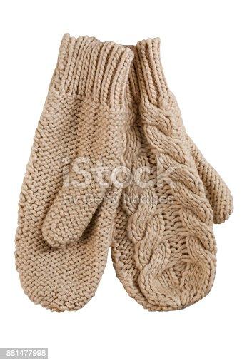 Wollen mittens on white background