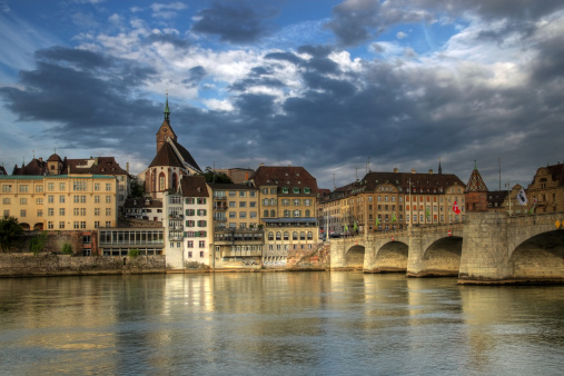 Mittlere Bridge And Basel Waterfront Switzerland Stock Photo - Download Image Now