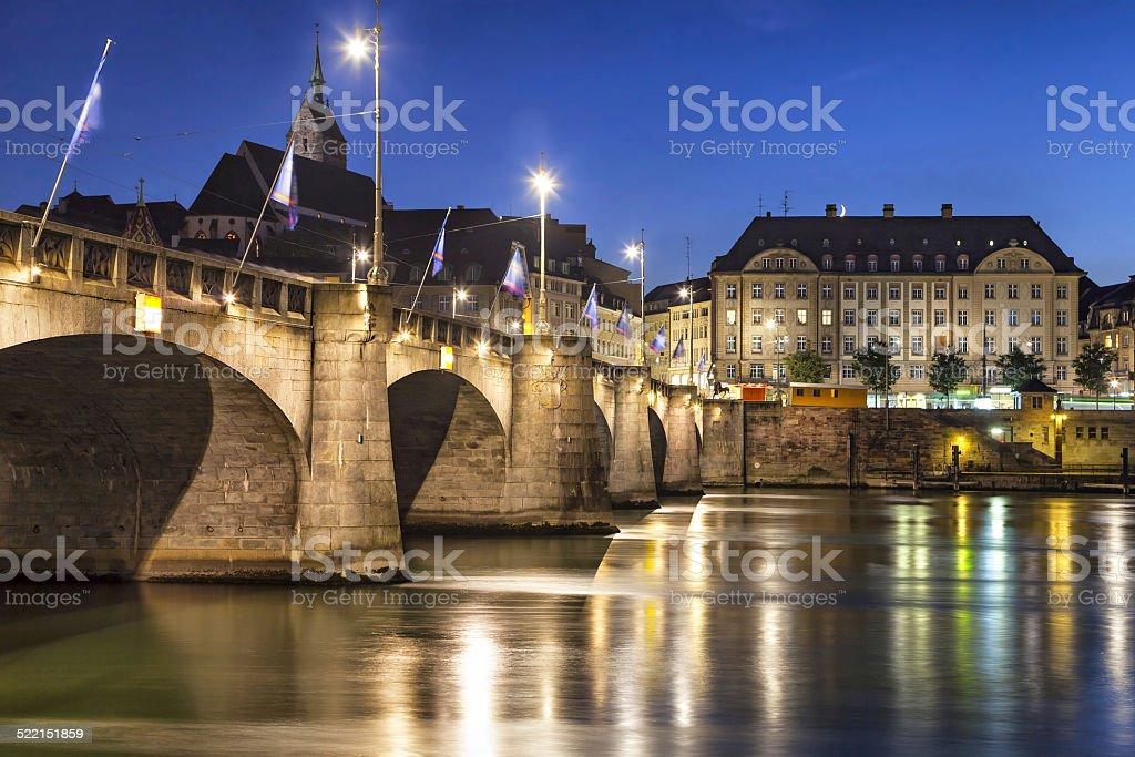 Mid-Brücke über den Rhein bei Sonnenuntergang, Basel – Foto