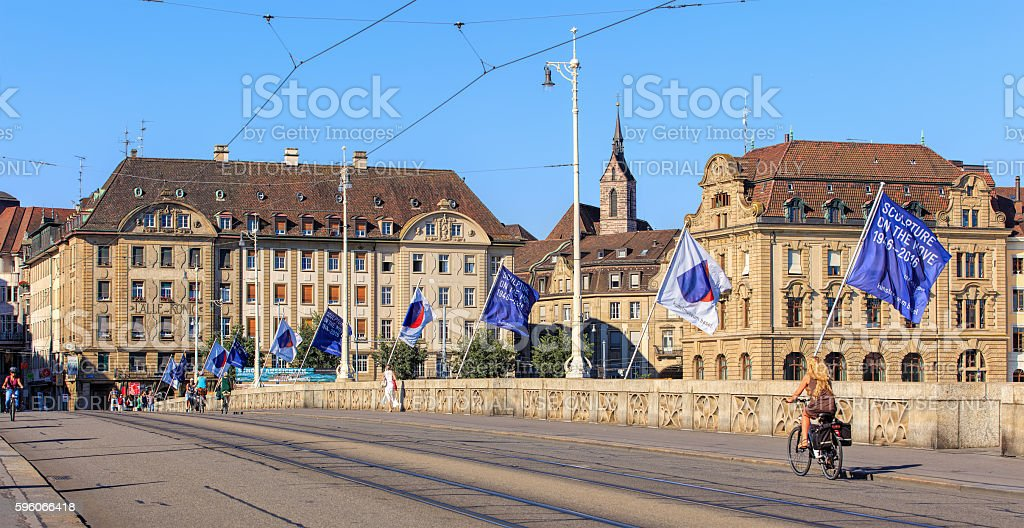 Mittlere Bruecke bridge in the city of Basel, Switzerland royalty-free stock photo