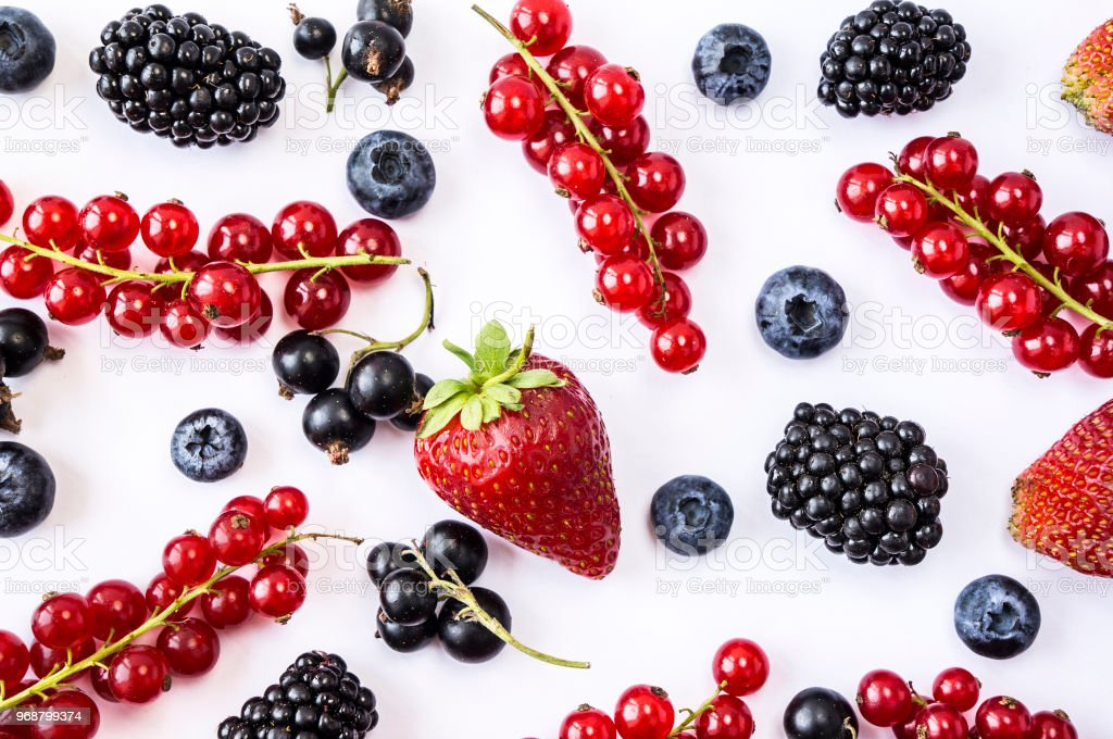 Mix Berries And Fruits On White Background Ripe Blueberries Blackberries Strawberries Red