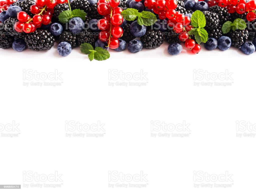 Mix Berries On A White Background Ripe Red Currants Blackberries Blueberries With