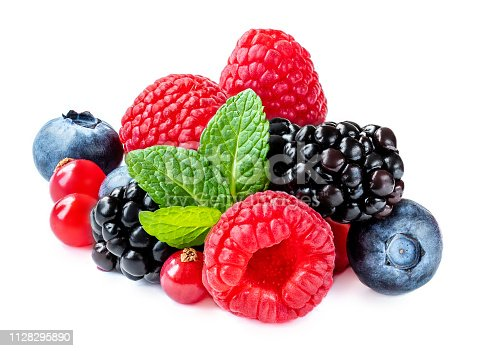istock Mix berries with leaf. Various fresh  berries isolated on white background.  Raspberry, Blueberry,  Cranberry, Blackberry and Mint leaves 1128295890