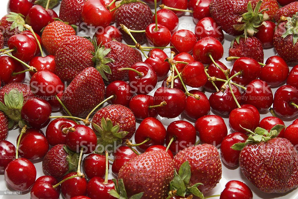 Mix berry:Cherry and Strawberry royalty-free stock photo