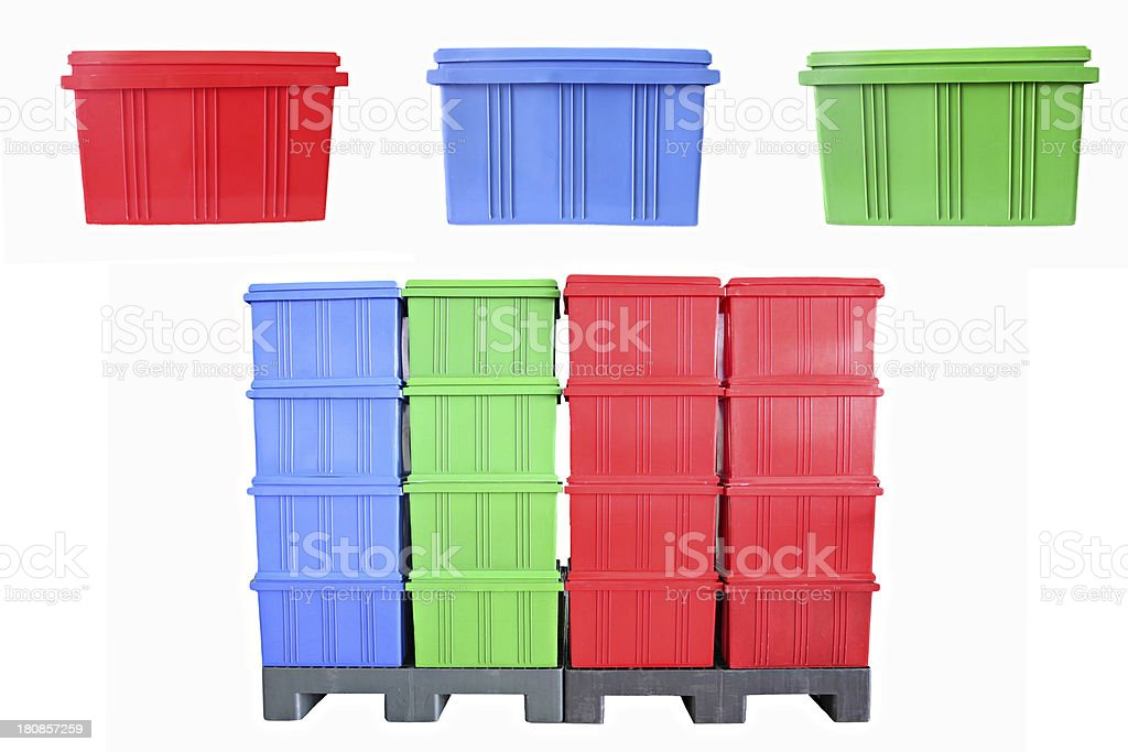 Mix color Plastic box Packaging of finished goods. stock photo