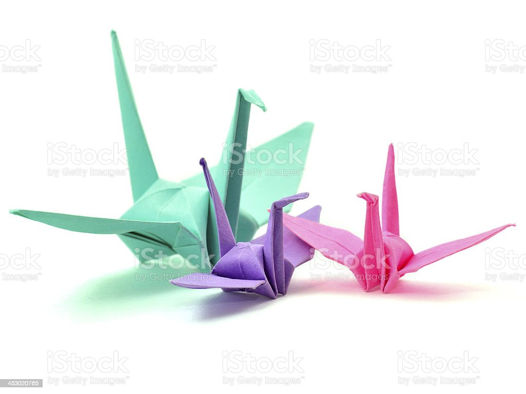 Mix Bunte Vogel Papier Origami Arbeit In Der Familie Stock