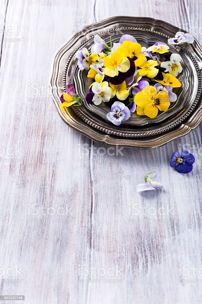 Mix edible flower stock photo