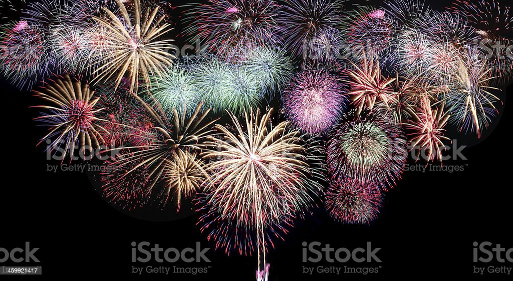 Mix Fireworks or firecracker. royalty-free stock photo