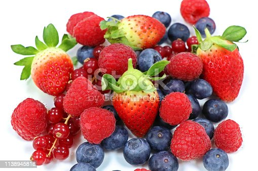 177495131 istock photo mix fresh berries isolated with white background 1138945818
