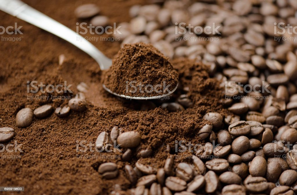Mix kinds of coffee, ground coffee beans and roasted stock photo