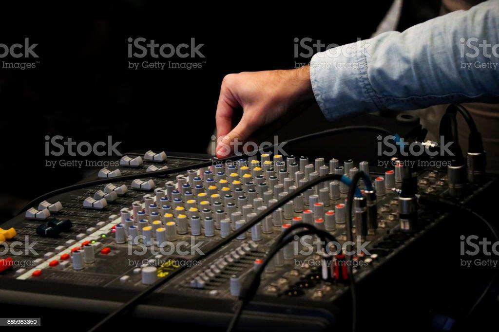 Mix mixer and DJ hand stock photo