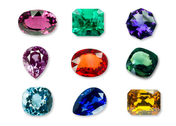 Mix of Bright gems isolated on a white background stock photo