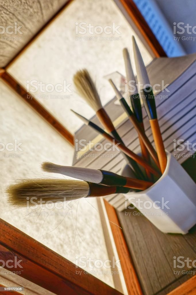 Mix of Brushes for the arts stock photo