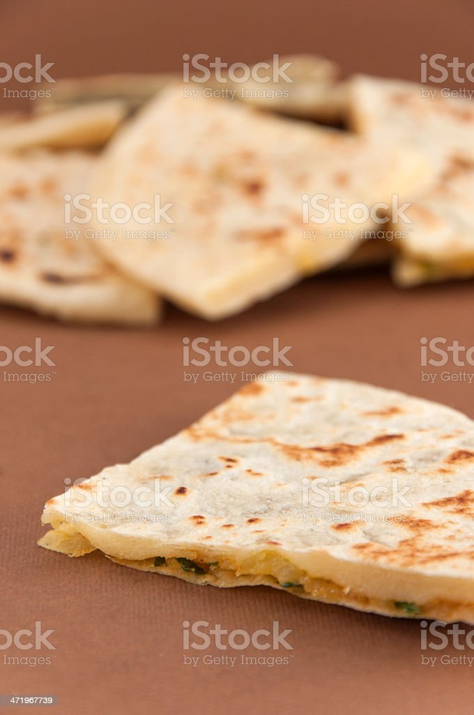 Mix of different indian breads - naan stock photo