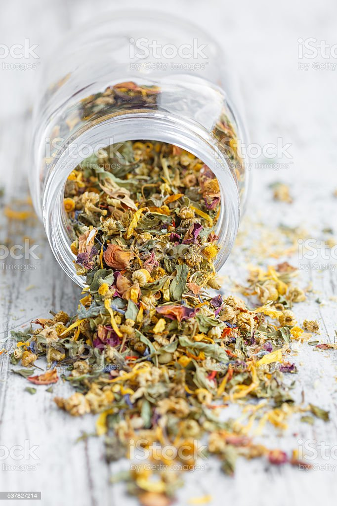mix of dried flowers for herbal tea stock photo