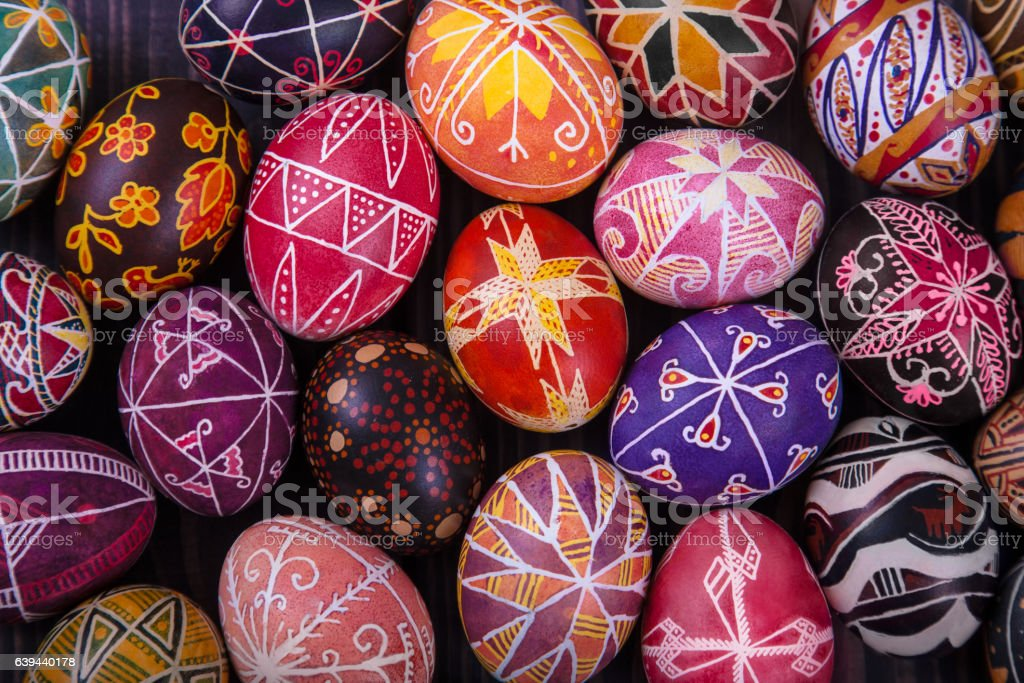 Mix of easter eggs with the traditional designs. stock photo