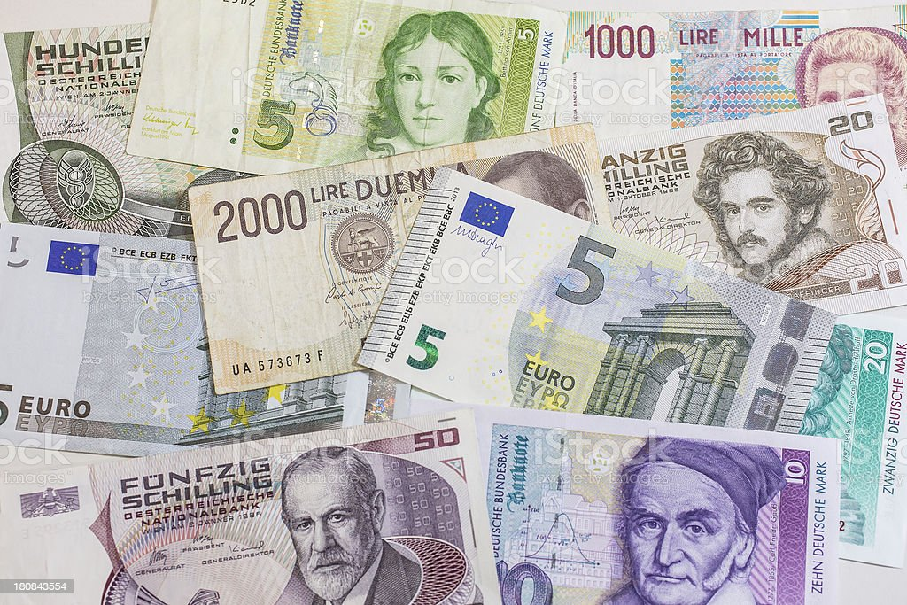 mix of european currencies stock photo