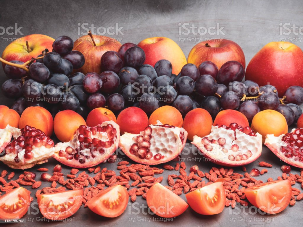 Mix Of Fresh Fruits And Berries Rich With Resveratrol Antioxidants