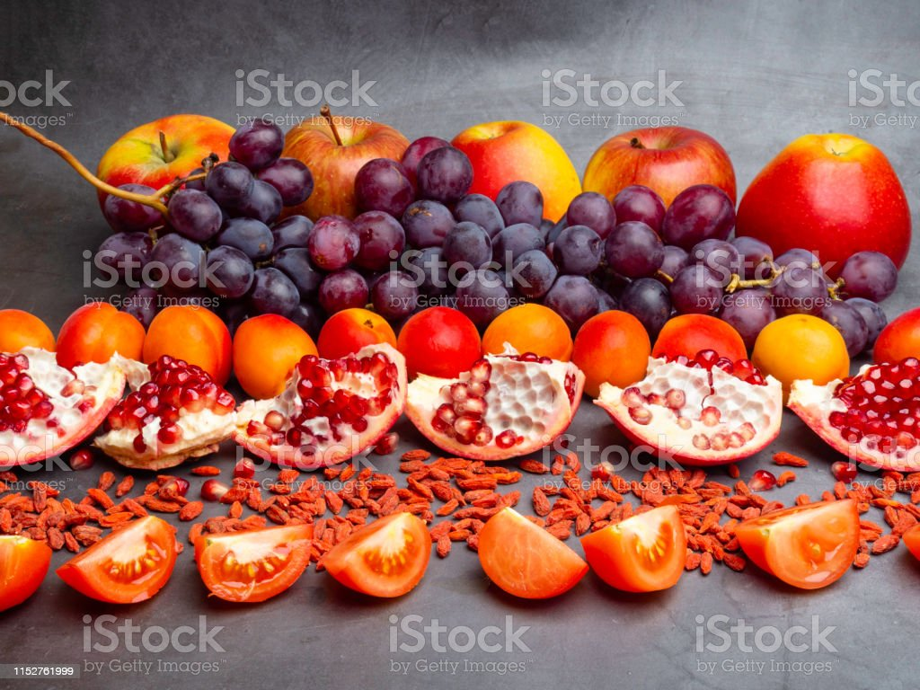 Mix Of Fresh Fruits And Berries Rich With Resveratrol Antioxidants Raw Food Ingredients Nutrition Background Stock Photo Download Image Now Istock