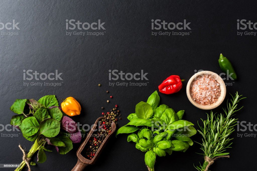 Mix of fresh herbs and spices. Food background stock photo