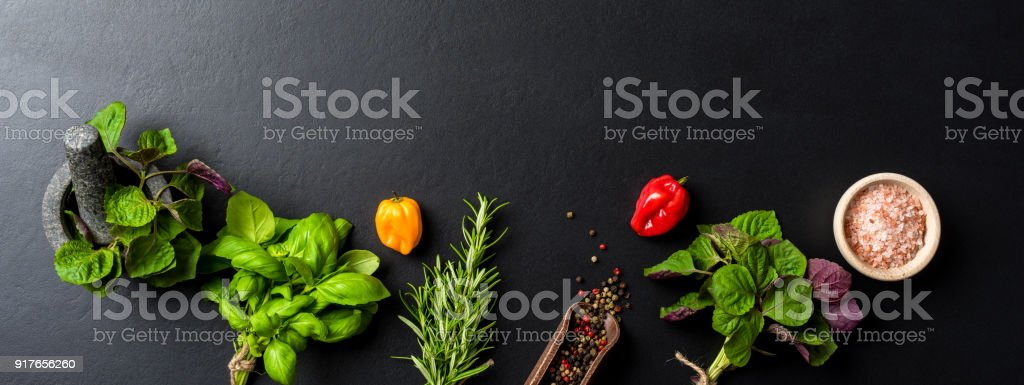 Mix of fresh herbs and spices stock photo