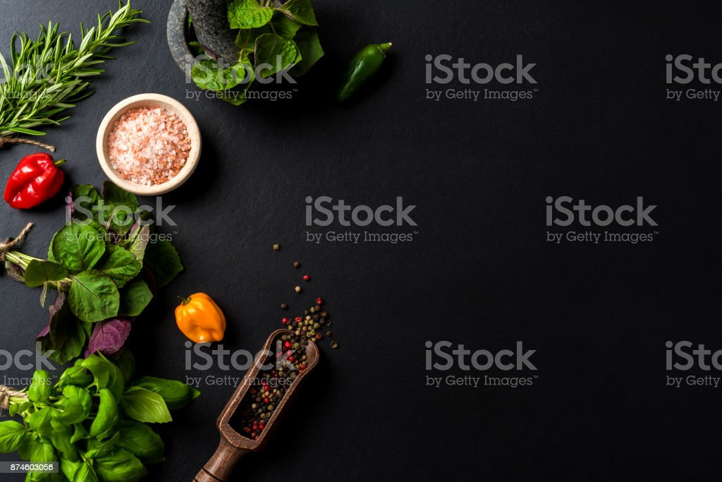 Mix of fresh herbs and spices. Top view stock photo